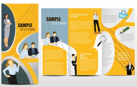 tri fold: Templates for advertising brochure with business people