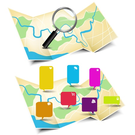 land mark: Map with magnifying glass and stickers, illustration