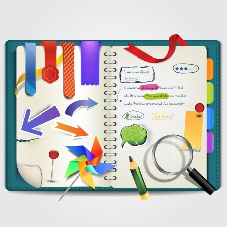 open notebook: Personal notebook with labels Illustration