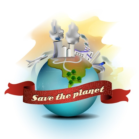 save planet: Save the planet, illustration