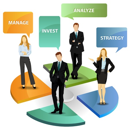 network marketing: Marketing strategy with business people Illustration