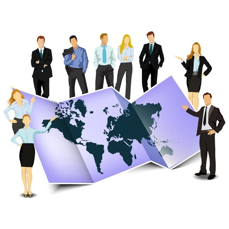 People with map, illustration Stock Vector - 16159022