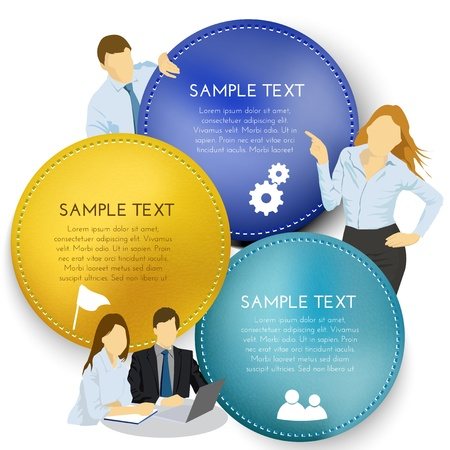 text box with business people Stock Vector - 16159024