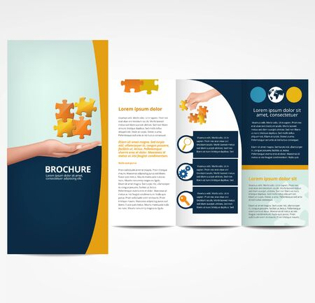 sjabloon: Brochure met puzzel, sjabloon Stock Illustratie