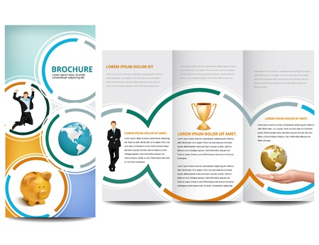 tri fold: Circle Brochure design Illustration