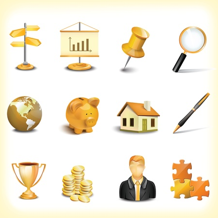 Gold icon set Stock Vector - 16460679