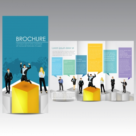 succes: Broshure with business people, template