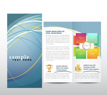 succes: Blue Brochure template Illustration