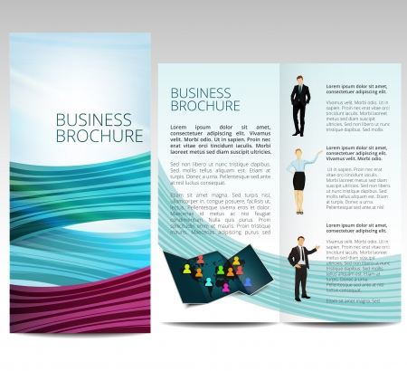 advertising woman: Brochure with business people