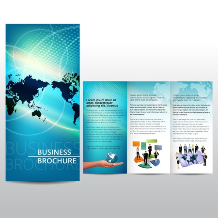 Blue brochure design with map Vector