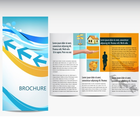 Blue business brochure Vector