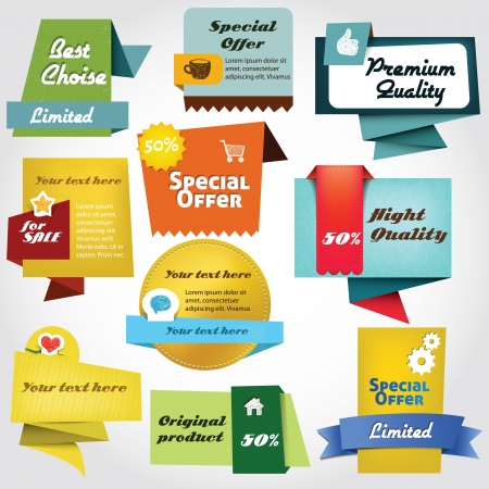 discount banner: Colorful label collection Illustration