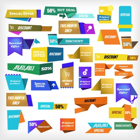 colorful label set Stock Vector - 17356965