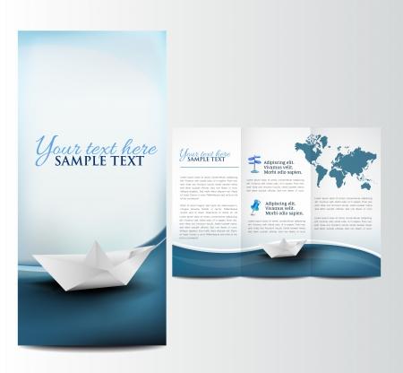 canotaje: Folleto con barco de papel, plantilla Vectores