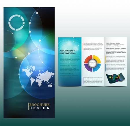 Blue business brochure, template Illustration