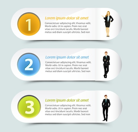 job descriptions: Web banner template design with business people Illustration