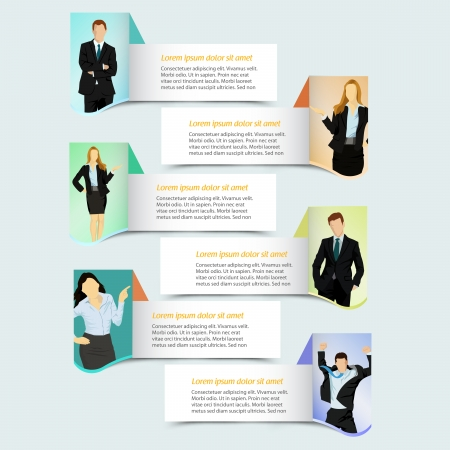 Web banner template design with business people