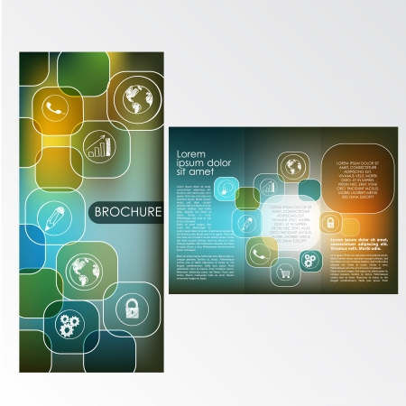 Brochure Layout Design Template with icons Illustration
