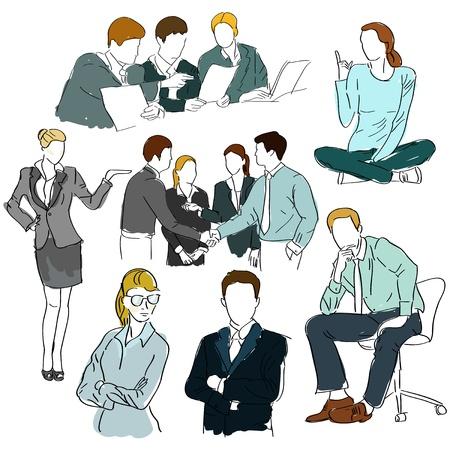people discuss: Hand drawn people set Illustration