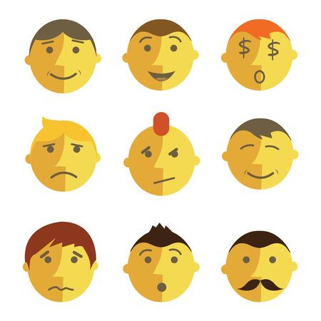 emotion faces: emotions faces, flat design