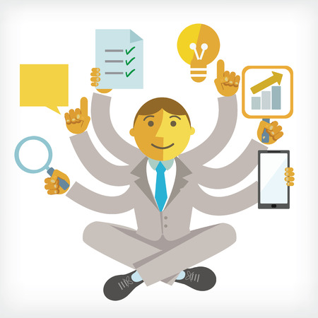 multi touch: illustration of busy businessman with multi tasking