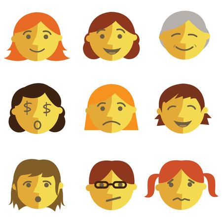 round glasses: Set of cartoon face emotions, flat design Illustration