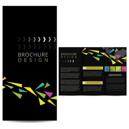 tri fold: Black Brochure with abstract elements Illustration