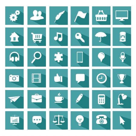 Universal icon set plat Banque d'images - 25312412