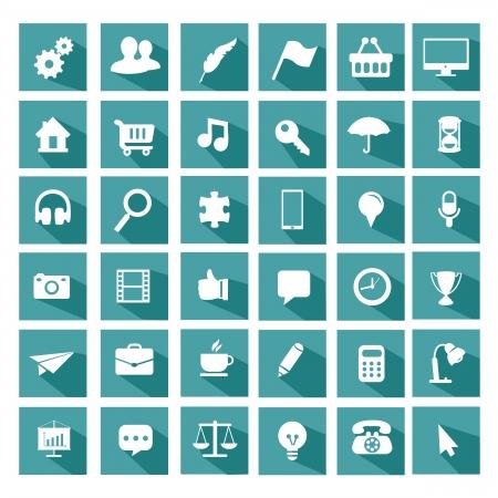 Universal icono de conjunto plana Foto de archivo - 25312412