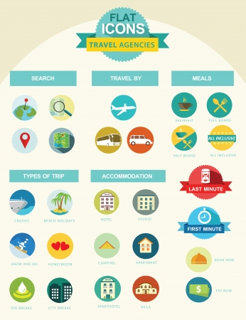 Flat icon collection for travel agencies Vector