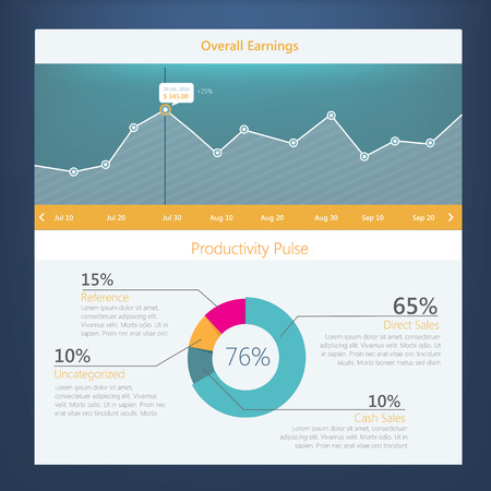 Modern UI flat design, activity diagram with timeline for website templates Vector