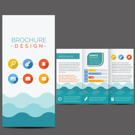 tri fold: Blue brochure template whit flat icons Illustration