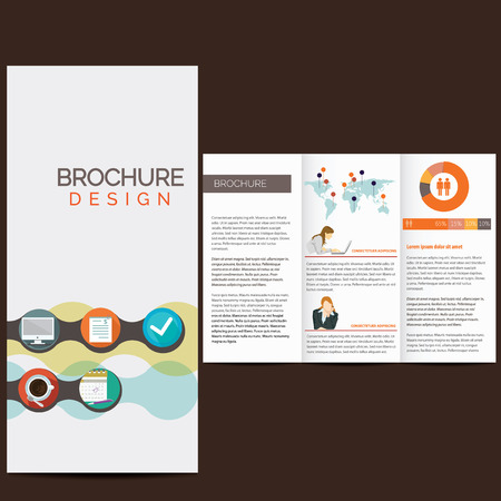 Business brochure design with icons Vector
