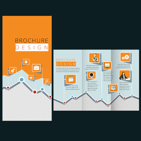 Flat template design with diagram Vector