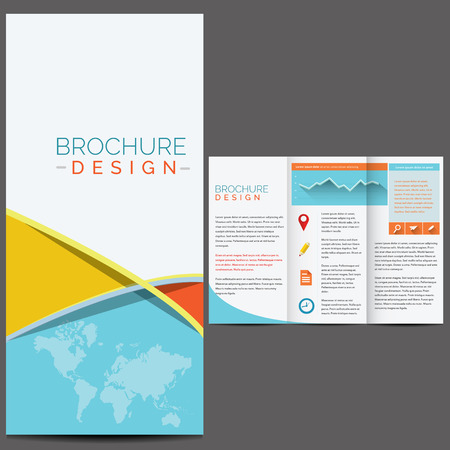 Blue business brochure template design Vector