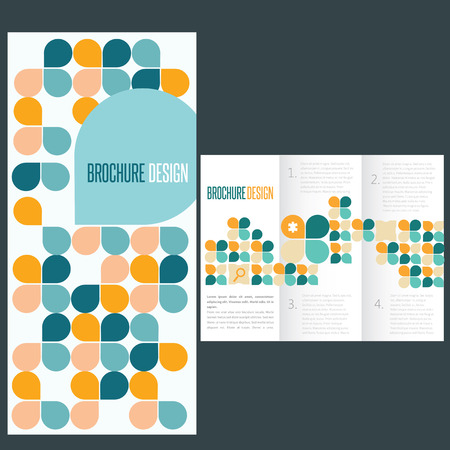 Blue brochure template whit flat icons Vector