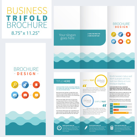 fold: Blue Brochure Layout Design Template