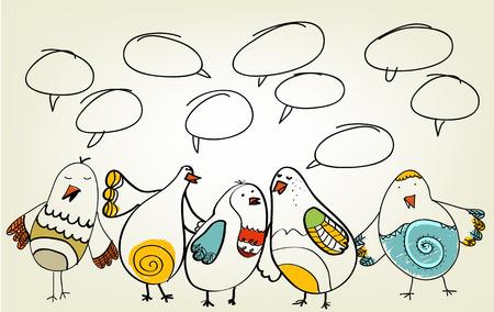 lijntekening: Speech. talk birds
