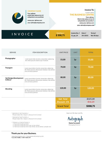INVOICE: Invoice template design Illustration