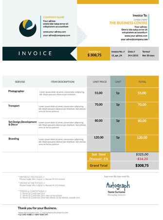 Invoice template design Illustration