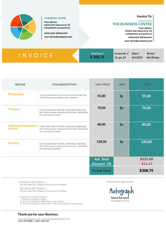 receivable: Blue Invoice template design layout