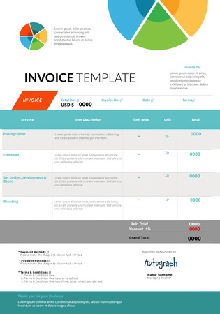 receivable: Colorful Invoice template design layout