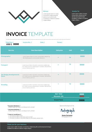 forms: Blue Invoice template design layout