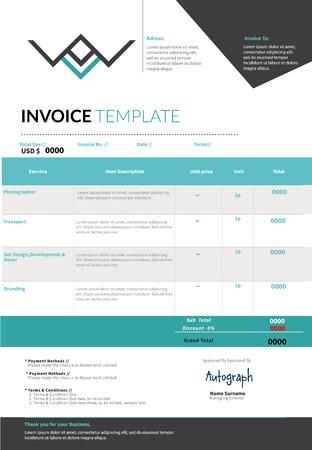 registros contables: Factura azul disposición de diseño de plantilla