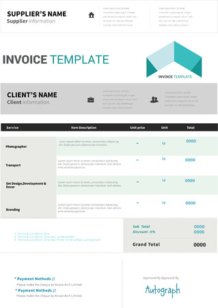 receivable: Invoice template