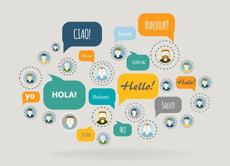 Social Network Vector Concept. Flat Design.