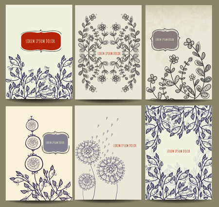 cover book: Hand drawn card collection with floral element. Invitation, book cover.