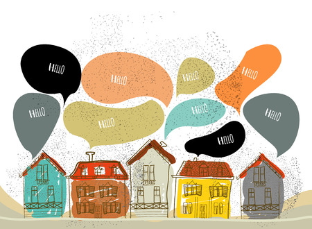 neighbour: Hand-drawn illustration village vector