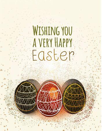 Feliz tarjeta de felicitación de Pascua con los huevos del vector