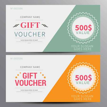 restaurant bill: Gift voucher, coupon template, flat design in vecto